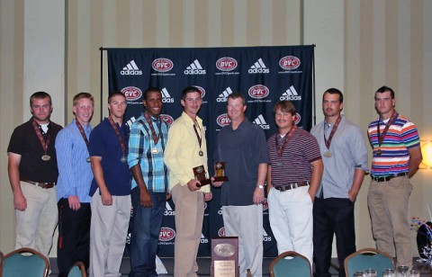 The Governors Baseball Award Winners: John Hogan, Jordan Hankins, Michael Blanchard, Rolando Gautier, Jeremy Dobbs, Gary McClure, Greg Bachman, Matt Wollenzin and Reed Harper. (Austin Peay Sports Information)