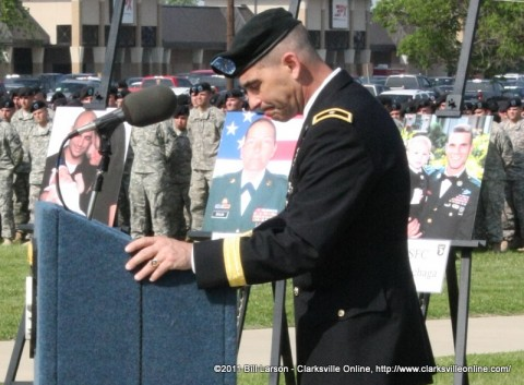 Brigadier General Jeffrey N. Colt, the Deputy Commander of Fort Campbell deals with an emotional moment during his remarks