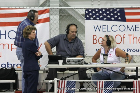 Hank Bonecutter broadcasting the Bone Show from the Welcome Home Ceremony for the 101st HHB on May 20th 2011. Pictured are Mayor Kim McMillan (Front), Art Conn (Left-rear), Hank Bonecutter (Center), and Melissa Schaffner from Fort Campbell's MWR (Right)