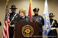 Montgomery County Mayor Carolyn Bowers speaking at the 2011 Law Enforcement Week Memorial Ceremony