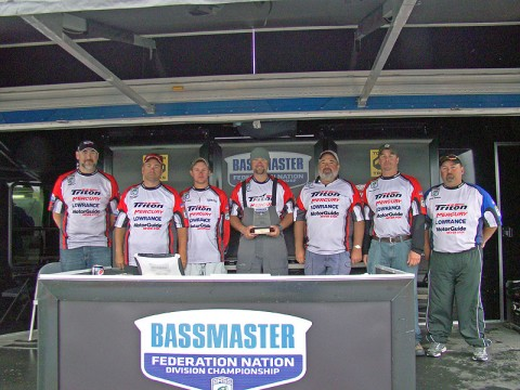 Sgt. 1st Class Mark Pierce, center, won the 2011 Southern Divisional Bass Tournament in April, qualifying him for the nathional championship. (Courtesy photo)