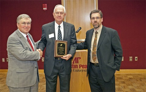 APSU President Tim Hall, Ben Kimbrough, recipient of this year's Outstanding Academic Supporter Award, and Dr. Tristan Denley, provost and vice president of academic affairs at APSU. (Photo By Bill Persinger/APSU Public Relations and Marketing)