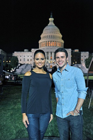"""American Idol"" 2009 winner Kris Allen with 2011 AI finalist Pia Toscano at a rehearsal for the ""National Memorial Day Concert,"" which airs live on PBS at 7:00pm from the west lawn of the Capitol.  (Capital Concerts, Bill Fitzpatrick)"