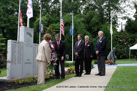 The laying of the wreath at the 2010 Clarksville-Montgomery County Memorial Day Ceremony