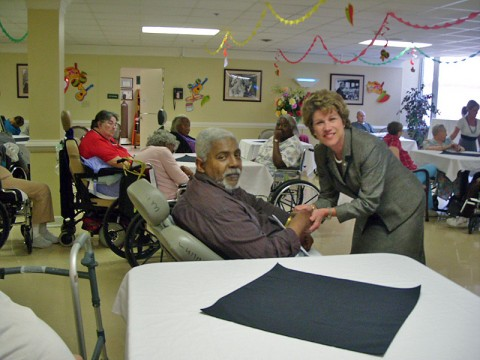 Clarksville Mayor Kim McMillan visits local nursing homes.