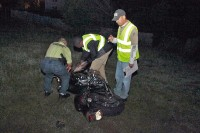 Clarksville Police Fatal Accident Crash Team investigate the crash scene. (Photo by CPD-Jim Knoll)