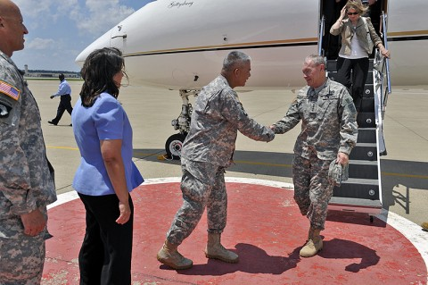 """The Chief of Staff of the Army (CSA) General Martin E. Dempsey is greeted by Maj. Gen. John F. Campbell during a visit to Fort Campbell where he and his wife Deanie met with Soldiers and their spouses Thursday, 23rd June, 2011. """"They have really written another page in their extensive history and I think it's one of those places you come to remember, why we do what we do,"""" he said. (Official Army photo by: Jerry Woller)"""