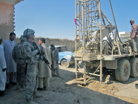The 530th Combat Sustainment Support Battalion, 101st Sustainment Brigade, is addressing the needs of Afghan villagers in the Balkh province by working to provide water wells in the region. (Courtesy Photo)