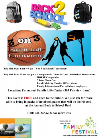 3rd Annual Back to School Basketball Tournament and All Star Game