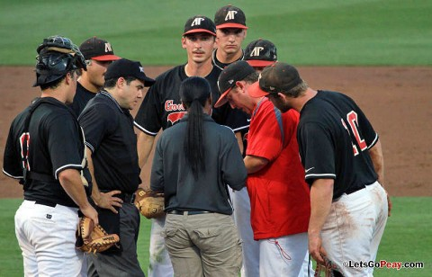 Jeremy Dobbs saw his start cut short by a blister on his throwing hand in Saturday's 8-3 loss to Mississippi State. (Courtesy: Austin Peay Sports Information)