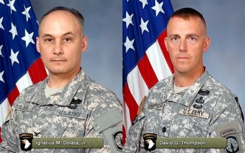 (Left to Right) Outgoing Commander Colonel Ignatius M. Dolata, Jr. and incoming Commander Lieutenant Colonel David G. Thompson.