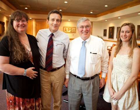 APSU student Darlene Hart (from left), Giovanni Grossi with Florim USA, APSU President Tim Hall and APSU student Ashley Paul are shown at a recent scholarship presentation at APSU. (Photo by Beth Liggett | APSU Public Relations and Marketing)