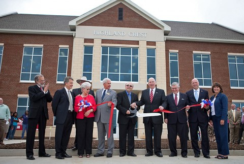 Several dignitaries from the Tennessee Board of Regents, Austin Peay State University, Volunteer State Community College and Robertson County celebrate the opening of the new Highland Crest Campus on June 22nd in Springfield. (Photo by Beth Liggett, APSU Public Relations and Marketing)
