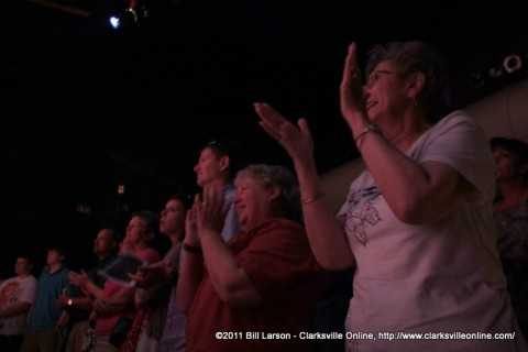 The crowd gives a standing ovation at the end of the John Denver Musical Almost Heaven