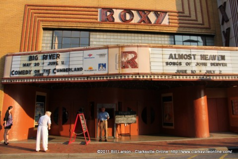 A Salvation Army Bell Ringer stands outside of the Roxy shortly before the Comedy show began
