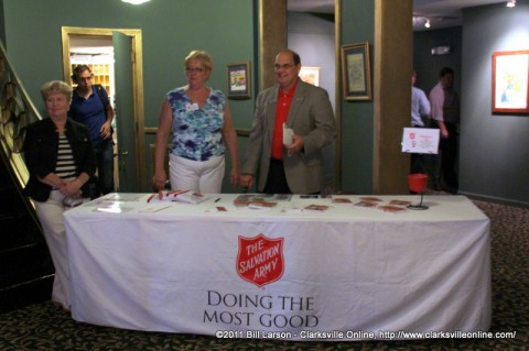 The Salvation Army booth in the Lobby of the Roxy Theatre