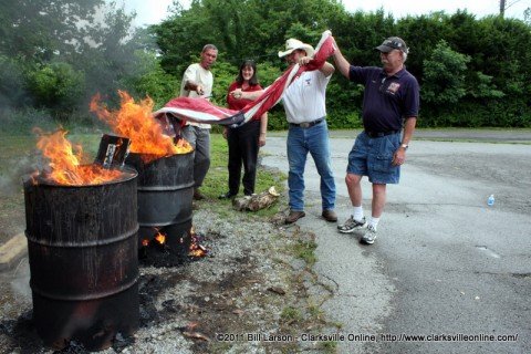 The final flag of the 2011  Flag Retirement Ceremony is committed to the flames