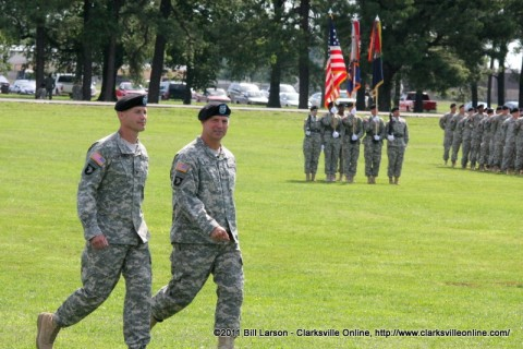 Col. Gayler and Col Bontrager return to their position in front of the reviewing stand.