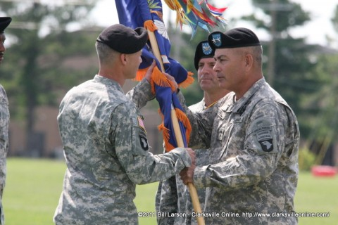 Col. Bontrager receives the command of the 101st Combat Aviation Brigade from Maj. Gen. John F. Campbell, the commander of the 101st Airborne Division