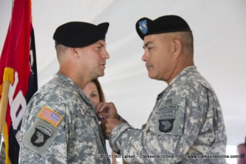Maj. Gen. John F. Campbell pinning the Legion of Merit on Col. Gayler