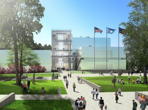 National Army Museum, main entrance. Conceptual rendering courtesy of Skidmore, Owings & Merrill, LLP.