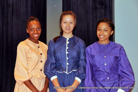 (From left to right) Brianna Tyre, Ariana Nelson and Lauryn Jennings 8th grade students at Northeast Middle School.