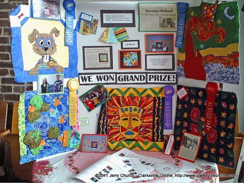 Todd Central High School Students Cassie Hanners and Terese Rudder had created a quilt block which had won a First Prize and now resides in the Quilt Museum in Paducah