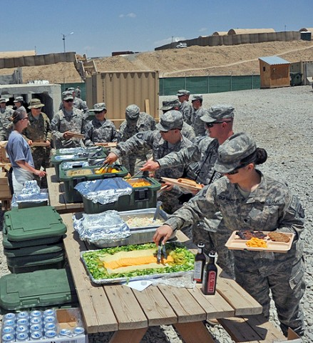 U.S. Army Soldiers from the Task Force Currahee, 4th Brigade Combat Team, 101st Airborne Division, at Forward Operating Base Sharana, Afghanistan, celebrated the United States Army's 236th Birthday June 14th, with a barbecue. (Photo by U.S. Army Sgt. Christina Sinders, Task Force Currahee Public Affairs)