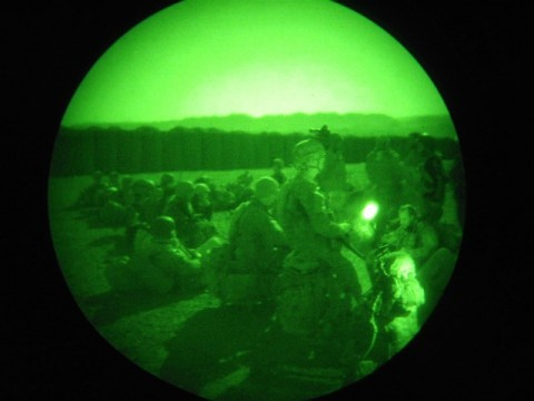 Soldiers from Company C, 1st Battalion, 506th Infantry Regiment, 4th Brigade Combat Team, 101st Airborne Division, Task Force Currahee, prepare to conduct an air assault mission during the early morning hours on June 23rd. (Courtesy Photo)