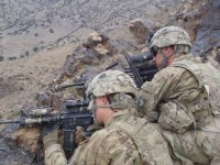 Soldiers from Company C, 1st Battalion, 506th Infantry Regiment, 4th Brigade Combat Team, 101st Airborne Division, Task Force Currahee, pull security from the top of a mountain in Paktika Province during Operation Surak Basta III on June 23rd. (Courtesy Photo)