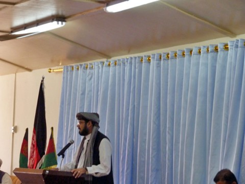 Paktika's Provincial Gov. Mohibullah Samim addresses the assembled Mullahs about the need for the Afghan people to unite and build their country during a shura on Forward Operating Base Rushmore in Afghanistan's Paktika Province, June 8th. (Photo by U.S. Army Chaplain (Capt.) Joshua A Chittim, Task Force Currahee)