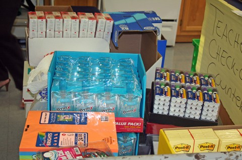 """Just some of the items donated during last year's """"Stuff the Bus"""" event."""