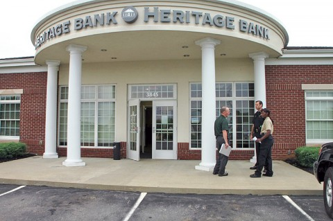 Clarksville Police processing the scene at Heritage Bank. (CPD-Jim Knoll)