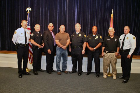 (Left to Right) Chief Ansley, Officer Ortiz, Officer Dailey, Officer Brown, Lt Carney, Lt Tucker, Officer Bechtold, DC Parr. (CPD-Jim Knoll)