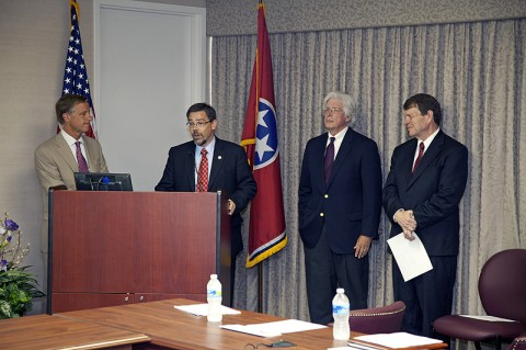Gov. Bill Haslam (from left), APSU Provost Dr. Tristan Denley, Dr. Richard Rhoda, executive director of Tennessee Higher Education Commission, and Stan Jones, president of Complete College America, announce Tennessee as the recipient of a $1 million Complete Innovation Challenge grant July 25th in Nashville. (Photo by Bill Persinger, APSU Public Relations and Marketing)