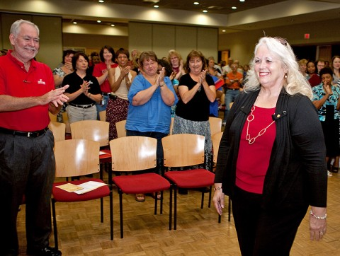 Donna Liverett (right) receives a standing ovation as she is honored for her 40 years of service in the APSU Department of Chemistry during an employee service awards reception July 22nd at Austin Peay State University. (Photo by Beth Liggett, APSU Photographer)