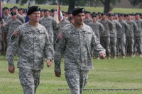 Col. Poppas (right) and Col. McGee (left) return from inspecting the troops