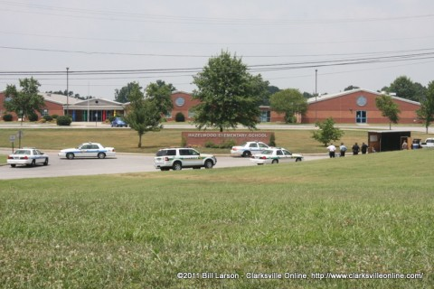 The Scene at Hazelwood Elementary School shortly after the suspicious package was discovered