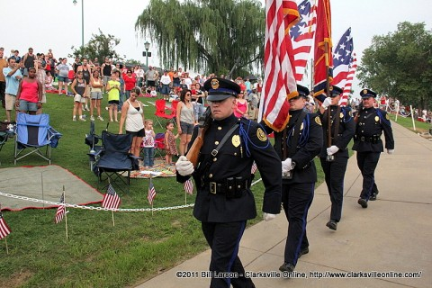 The Color Guard  posts the colors kicking off the City of Clarksville Tennessee's Independence Day Celebration on July 3rd