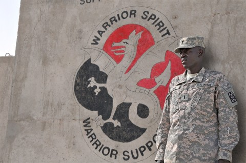 "First Lt. Gabriel Chol Deng endured many hardships as on the ""Lost Boys of Sudan."" Today, he is a soldier assigned to the 530th Combat Sustainment Support Battalion, 101st Sustainment Brigade. (Photo by Sgt. 1st Class Peter Mayes)"