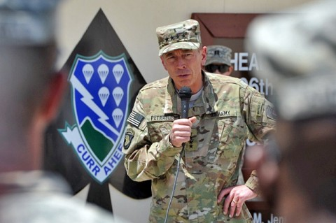 U.S. Army Gen. David H. Petraeus, commander of International Security Assistance Force and commander of U.S. Forces Afghanistan talks with Task Force Currahee Soldiers from 4th Brigade Combat Team, 101st Airborne Division July 7th, at Forward Operating Base Sharana in Afghanistan's Paktika Province. Petraeus visited Task Force Currahee as part of his farewell tour as he prepares to retire from the U.S. Army. (Photo by U.S. Army Sgt. Luther L. Boothe Jr., Task Force Currahee Public Affairs)