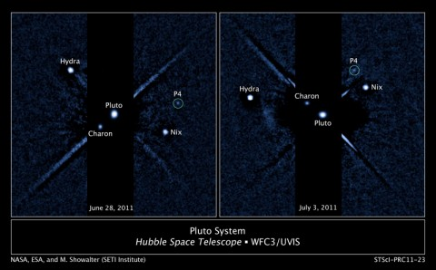 Two labeled images of the Pluto system taken by the Hubble Space Telescope's Wide Field Camera 3 ultraviolet visible instrument with newly discovered fourth moon P4 circled. The image on the left was taken on June 28th, 2011. The image of the right was taken on July 3rd, 2011. Credit: NASA, ESA, and M. Showalter (SETI institute)