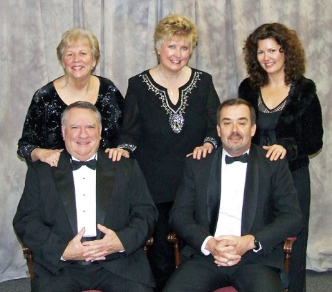 Members of Queen City Quartet; (L to R) Front Row; Charlie Winn and Pete Silk. Back row; Carolyn Riggins, Debbie Wilson and Kris McCarthy Houser.