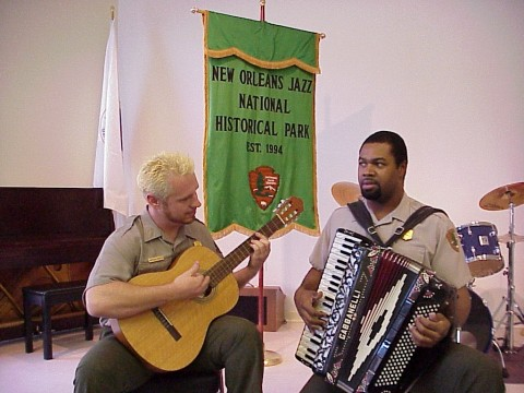 Park Rangers Matt Hampsey and Bruce Barnes perform at the park. (NPS Photo)