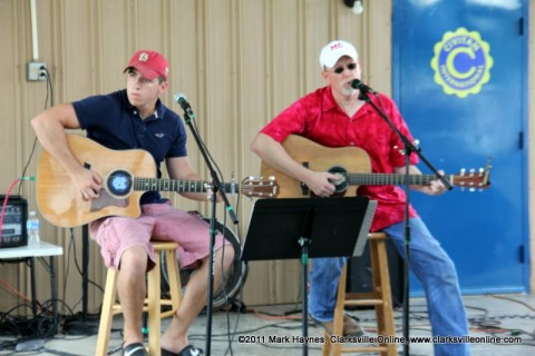 Donald Greene and Lucian Greene of the Back Lot Pickers played for the large crowd at last year's Lone Oak Picnic.