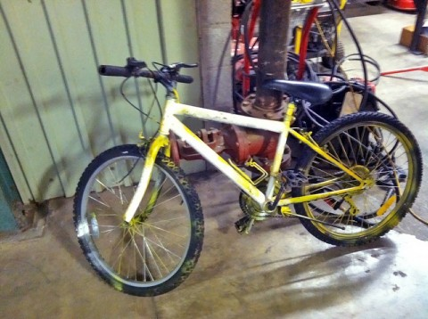 The yellow bicycle one of the suspects was riding. (Photo by CPD)