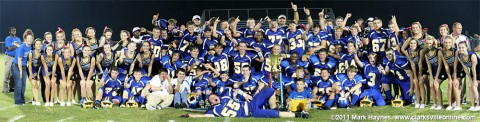 """Clarksville Academy after the """"Battle of the River"""" win with the trophy."""