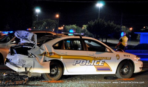 Clarksville Police vehicle rear-ended while on a traffic stop.