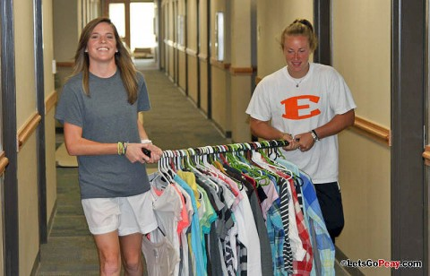 Lady Govs Soccer move into the dorms. (Courtesy: Austin Peay Sports Information)