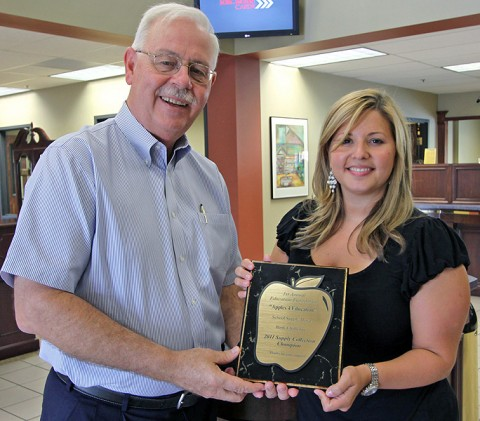 (L to R) CMC Education Foundation President Terry Strange and Legends Bank Vice President of Marketing Brittney Campbell.